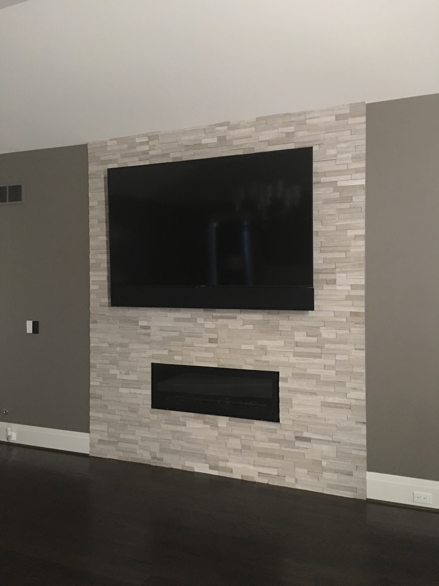 Fireplace, stone, 4K TV